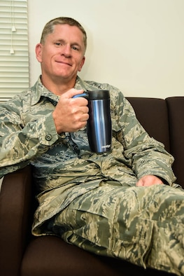 Master Sgt. Jeff Robichaud relaxes as he gives an interview about the first sergeant position at the 118 Wing Tennessee Air National Guard Base in Nashville, Tenn., Sep. 17, 2017.