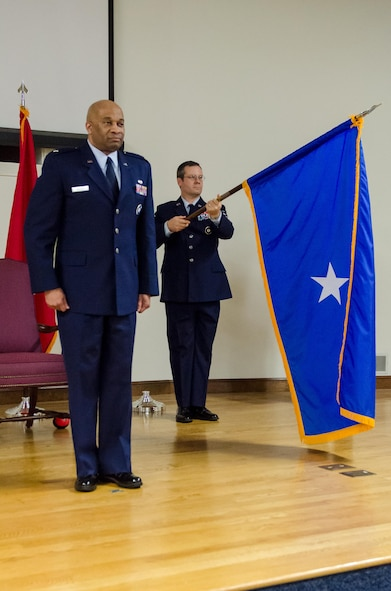The flag for newly promoted Brig. Gen. Charles M. Walker, chief of staff for Headquarters, Kentucky Air National Guard, is unfurled for the first time during Walker's promotion ceremony Nov. 4, 2017, at the Kentucky Air National Guard base, Louisville, Ky. (U.S. Air National Guard photo by Tech. Sgt. Vicky Spesard)