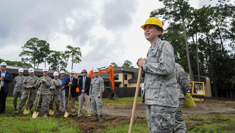 Lt. Col. Angela Waters, 39th Information Operations Squadron commander, addresses the assembled crowd during the Cyber Training Campus groundbreaking ceremony at Hurlburt Field, Fla., Aug. 10, 2017. Once completed in fiscal year 2018, the CTC will double the 39th IOS' current capacity to produce operators for U.S. Cyber Command's cyber mission force and Air Force cyber weapons systems