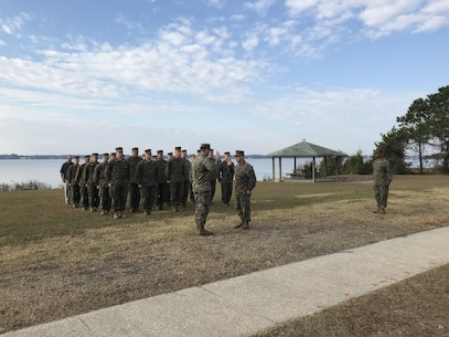 On December 1, 2017 First Lieutenant Charles Sieber was promoted to the rank of Captain behind BB-13 at Courthouse Bay, N. C. Colonel James H. Bain, Commanding Officer of Marine Corps Engineer School; administers the oath of office to newly promoted Captain Sieber in front of Marines, civilians, contractors, family, and friends.