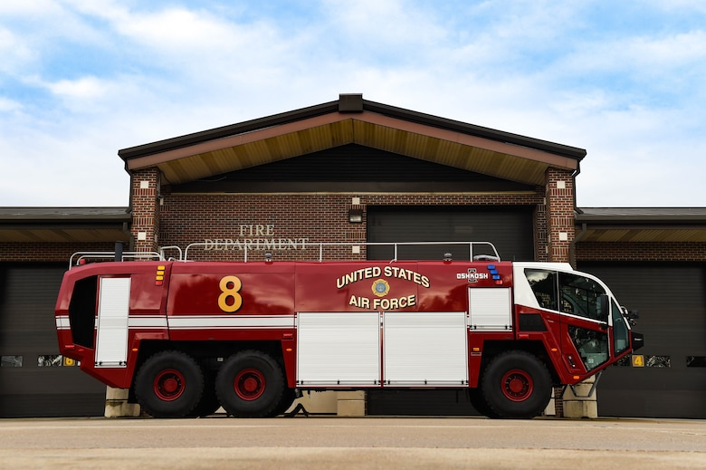 The 633rd Civil Engineer Squadron showcases the new Striker 3000 at the Langley Fire Department on Joint Base Langley Eustis, Va., Nov. 22, 2017. The Striker is a 39 and half foot, 3,000-gallon, high performance fire truck that brings new and improved technology to the flightline and community.