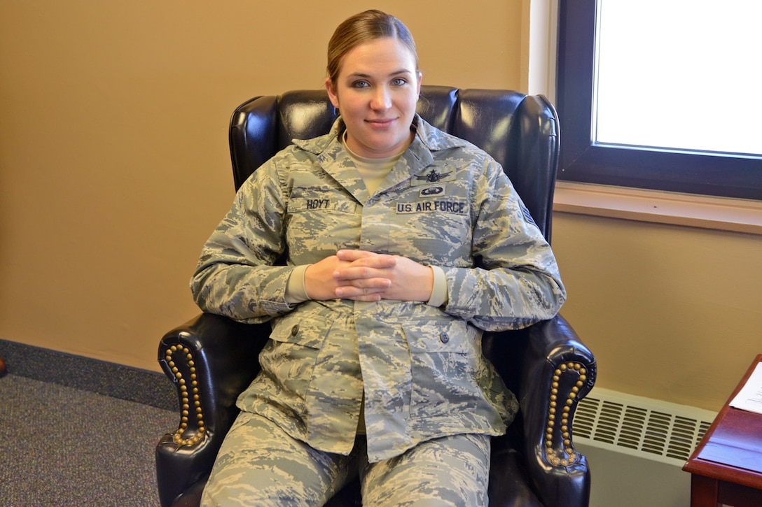 Staff Sgt. Grace Hoyt, 341st Missile Wing chaplain assistant, poses for a photo Nov. 7, 2017, at Malmstrom Air Force Base, Mont.