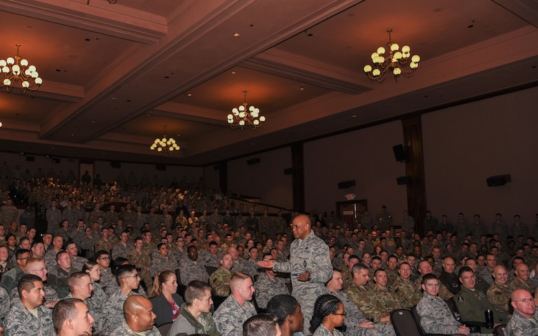 Maj. Gen. Anthony Cotton, 20th Air Force commander, speaks to Airmen during the commander's all-call for the 90th Missile Wing at F.E. Warren Air Force Base, Wyo., Nov. 29, 2017. Cotton will take the importance of the nuclear enterprise with him to his next assignment and do his part to educate others on that importance. (U.S. Air Force photo by Airman 1st Class Braydon Williams)