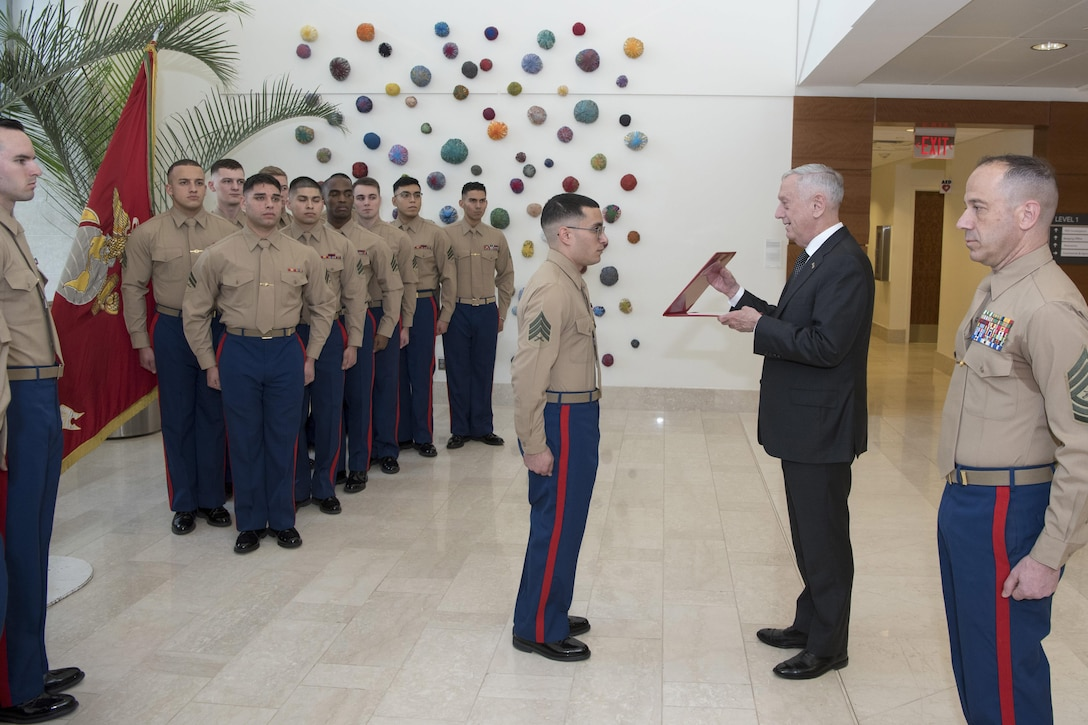 Defense Secretary James N. Mattis and a Marine face each other as other Marines stand by in formation.