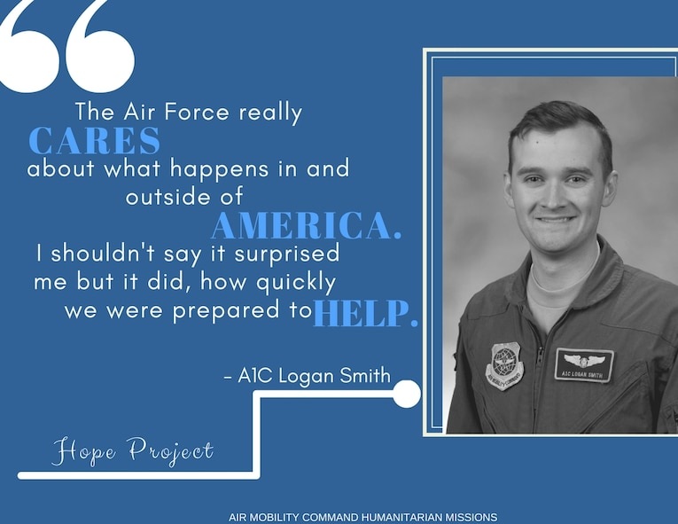 Airman 1st Class Logan Smith, a C-17 loadmaster, was on a Bravo alert schedule in September at Dover Air Force Base,  when he received a call to support what would be his first  humanitarian mission in his career. Smith is a native of Chattanooga, Tennessee. (Graphic by Staff Sgt. Stephenie Wade)