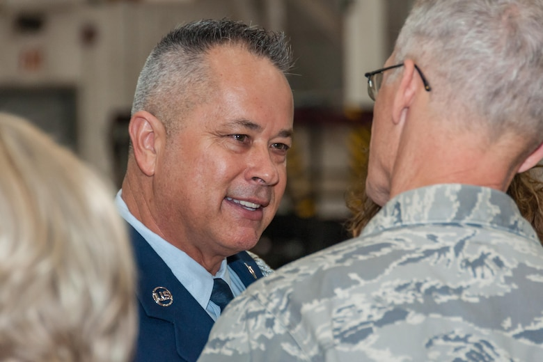 Lt. Col. Dwayne Slack, 307th Maintenance Group commander, gives his farewell to Tech. Sgt. Christopher Marien, 307th Maintenance Squadron Aerospace Ground Equipment mechanic, after Marien's retirement ceremony on Barksdale Air Force Base, La., Dec. 2, 2017.
