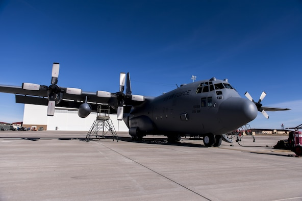 C-130 Hercules sitting on Cannon Air Force Base, New Mexico, flightline.