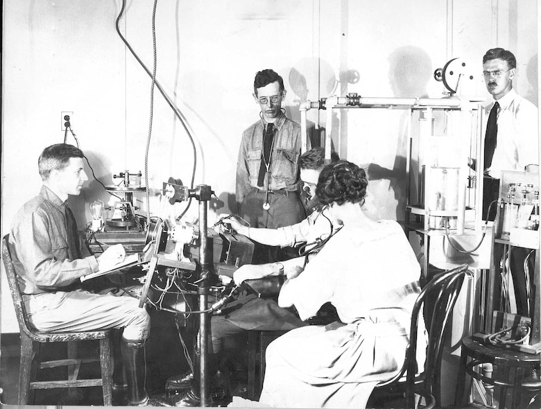 In this photo from the early 1920s, researchers conduct an altitude classification test at the Medical Research Laboratory and School for Flight Surgeons, which would eventually become the United States Air Force School of Aerospace Medicine. May 2018 is the school's 100 year anniversary. (Archive photo)
