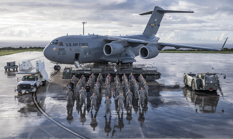 U.S. Air Force Airmen assigned to the 734th Air Mobility Squadron pose for a group photo Nov. 16, 2017 at Andersen Air Force Base, Guam.
