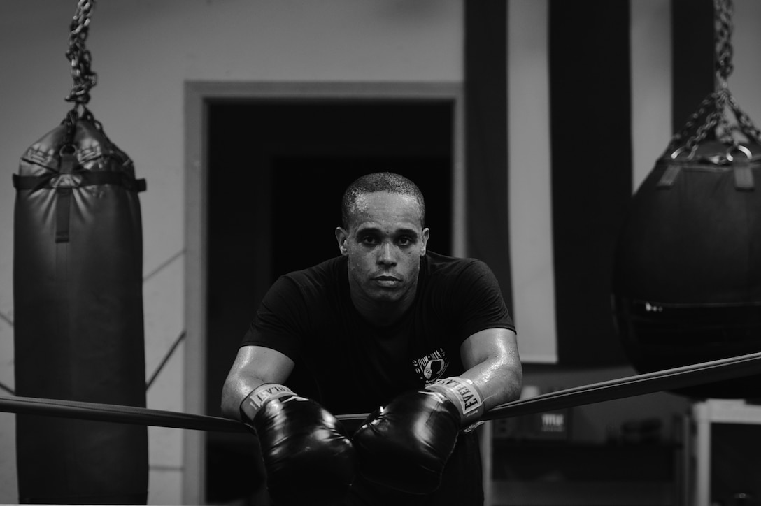 U.S. Air Force Tech. Sgt. Andre Penn, 20th Civil Engineer Squadron unaccompanied housing manager, takes a break following a training session at Team Robinson Mixed Martial Arts in Sumter, South Carolina, Nov. 7, 2017.