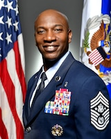 Chief Master Sgt. of the Air Force Kaleth Wright, the 18th person to hold this position, sits for his official portrait in the Pentagon, Feb. 10, 2017.