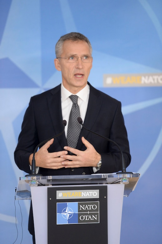 NATO Secretary General Jens Stoltenberg speaks at the beginning of an alliance foreign ministers meeting in Brussels, Dec. 5, 2017. NATO photo