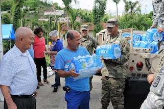 Puerto Rico Army National Guard soldiers assigned to the 92nd Military Police Brigade continue efforts of distributing supplies to a nursing home for elderly Alzheimer patients in the aftermath of Hurricane Maria in Cidra, Puerto Rico, Nov 27, 2017. Puerto Rico Army National Guard photos by Spc. Hamiel Irizarry