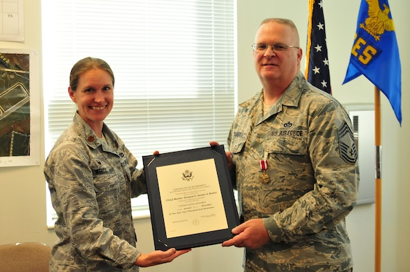 Chief Master Sgt. James Baker, the facility manager with the 178th Wing Civil Engineer Squadron (CES), celebrated his retirement at Springfield Air National Guard Base in Springfield, Ohio, Dec. 2. Baker served for 34 years in the Ohio Air National Guard.