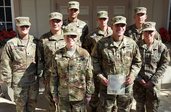 Eight U.S. Army Institute of Surgical Research Soldiers earned the German Armed Forces Badge for Military Proficiency during a three-day rigorous competition Nov. 3-5 at Joint Base San Antonio-Fort Sam Houston and JBSA-Camp Bullis. Shown are (from left, back row) Spc. Chelsea Hornback (Gold), Spc. Sergio Rubio (Gold), Staff Sgt. Cedric Martin (Silver), Staff Sgt. Aaron Keller (Silver), Capt. Andrew Holt (Silver). In the front row, from left are Capt. Majorie Brooks (Gold), Lt. Col. (Dr.) John Decker (Gold) and Spc. Stacey Bernetskie (Bronze).