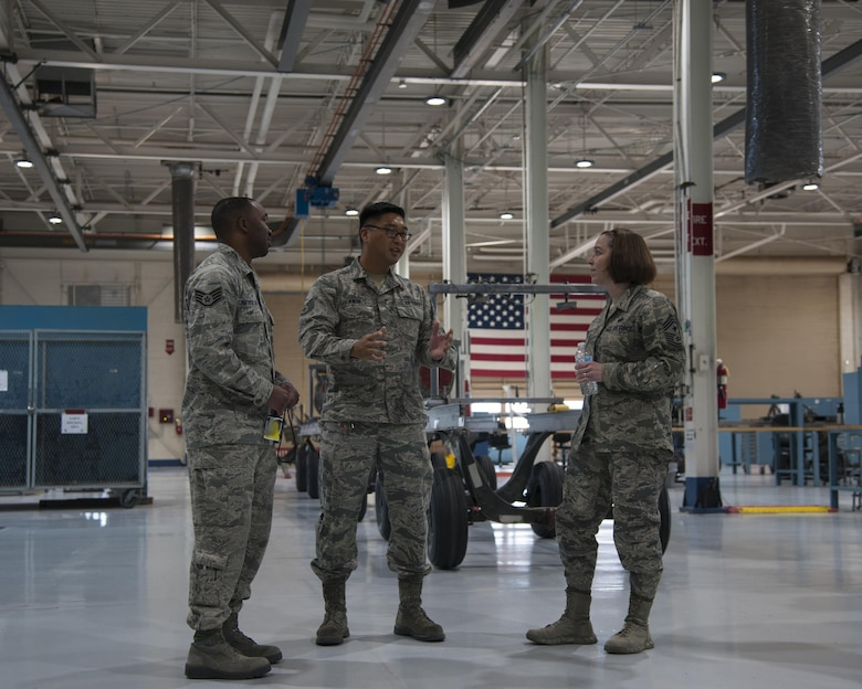 U.S. Air Force Chief Master Sgt. Juliet Gudgel, command chief master sergeant of Air Education and Training Command, speaks with NCOs from the 58th Special Operations Wing at Kirtland Air Force Base, N.M., Nov. 27, 2017. Gudgel visited the installation for two days to speak with the Airmen and gain a better understanding of what they do to support the 58th SOW, AETC and Air Force Special Operations Command. (U.S. Air Force photo by Staff Sgt. J.D. Strong II)