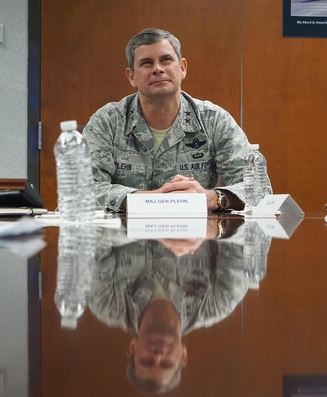 Maj. Gen. Michael Plehn, Air Force Special Operations Command deputy commander visits Robins AFB.