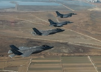 F-35A Lightning II aircraft from Hill Air Force Base, Utah, fly in formation with F-16 Fighting Falcon aircraft assigned to the 8th Fighter Wing in the skies over South Korea.