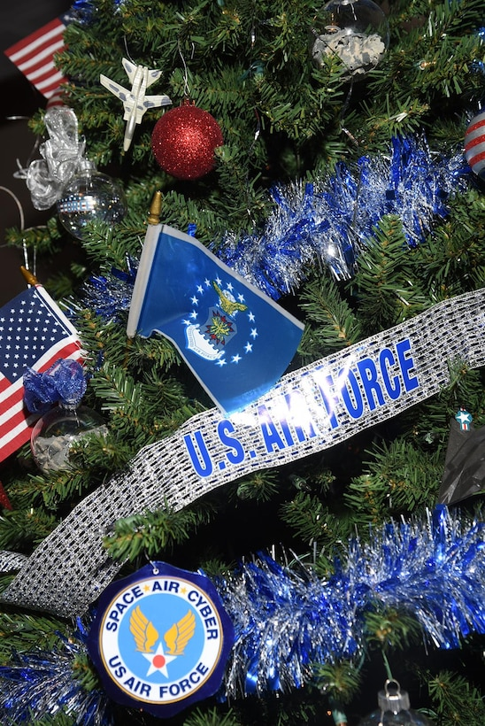 PETERSON AIR FORCE BASE, Colo. – A Christmas tree commemorating the U.S. Air Force decorates The Club at Peterson Air Force Base, Colorado, Dec. 5, 2017. The 21st Space wing will hold its annual Christmas party at The Club December 15 at 2:21 p.m. (U.S. Air Force photo by Robb Lingley)