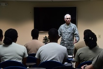 Maj. Gen. Craig La Fave, 22nd Air Force commander, speaks to a group of trainees in the Development and Training Flight at Dobbins Air Reserve Base, Georgia Dec. 2, 2017. He left parting words for the trainees in which he stressed the importance of having a good support network of family and friends during military service. (U.S. Air Force photo by Staff Sgt. Miles Wilson)