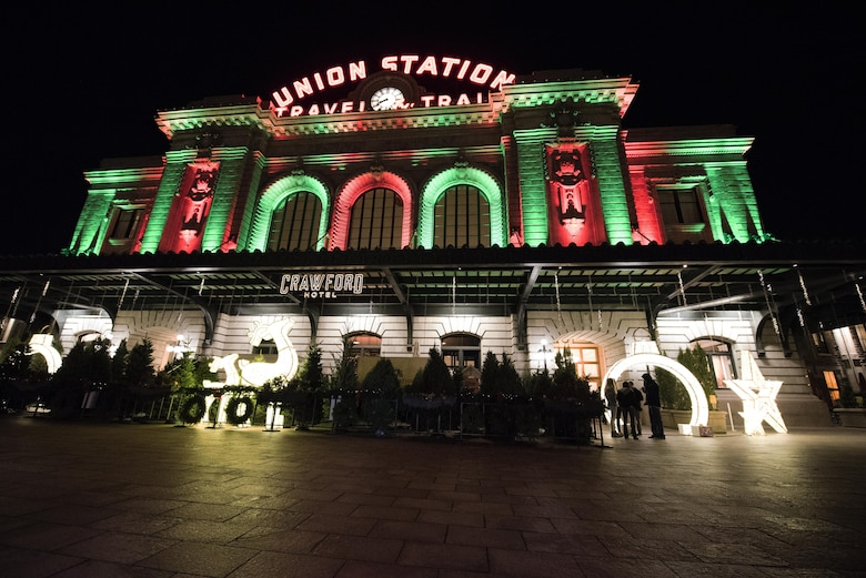 DENVER, Colo. – Christmas trees for sale in front of Union Station in Lower Downtown Denver, Colorado Dec. 1 2017. The building was lit in holiday colors creating a festive mood for nearby holiday shoppers. (U.S. Air Force photo by 2nd Lt. Justin Davidson-Beebe)