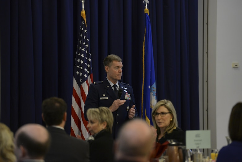 Col. Craig Peters, 512th Airlift Wing commander, speaks during the annual State of the Base Breakfast Nov. 20, 2017, at Dover Air Force Base, Del. Several speakers informed key community members about influential moments of the past year and Dover AFB's economic impact across the Delmarva Peninsula. (U.S. Air Force photo by Staff Sgt. Aaron J. Jenne)