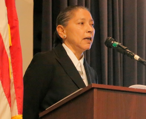 IMAGE: DAHLGREN, Va. (Nov. 21, 2017) - Juanita Mullen, Veterans Administration's Liaison for American Indian and Alaska Native Veterans, describes the contributions of Native Americans to U.S military strength and national security at the NSWCDD sponsored National American Indian Heritage and Veterans-Military Families Month Observance. (U.S. Navy photo by Patrick Dunn/Released)