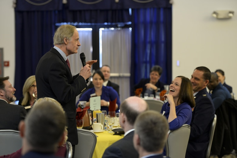 Sen. Tom Carper, D-Del., speaks during the State of the Base Breakfast Nov. 20, 2017, at Dover Air Force Base, Del. Carper and the other speakers thanked Team Dover for their continued service and dedication to the local community and nation. (U.S. Air Force photo by Staff Sgt. Aaron J. Jenne)