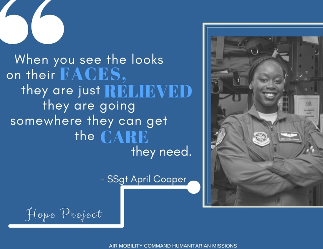 Staff Sergeant April Cooper, an aeromedical evacuation technician at Scott Air Force Base, Illinois, had just returned from Little Rock Air Force Base, Arkansas, after providing support for Hurricane Harvey. Knowing Hurricane Maria was about to make landfall, she left her bags right by her front door.  She was still on Bravo alert and knew when Maria hit, AE support would be needed quickly. This second mission would last three weeks at MacDill AFB, Florida, compared to her five day mission at Little Rock. Her time in Arkansas would help prepare her for the mission of multiple flights to St. Croix in the near future.