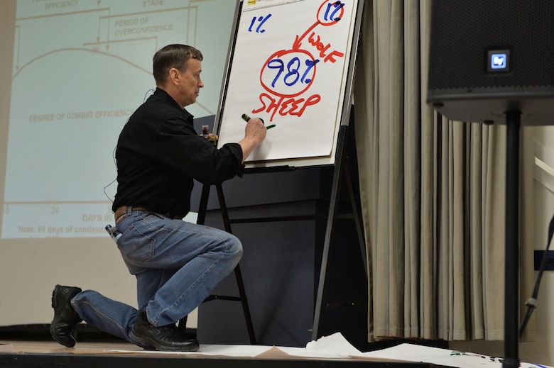 Retired Lt. Col. Dave Grossman uses graffiti markers and poster paper to help the audience visualize the amount of military members that experience effects due to combat Nov. 13, 2017, at Creech Air Force Base, Nev. Grossman utilized tools such as posters, a projector and books to convey his messages and entertain his audience. (U.S. Air Force Photo by Airman 1st Class Haley Stevens)