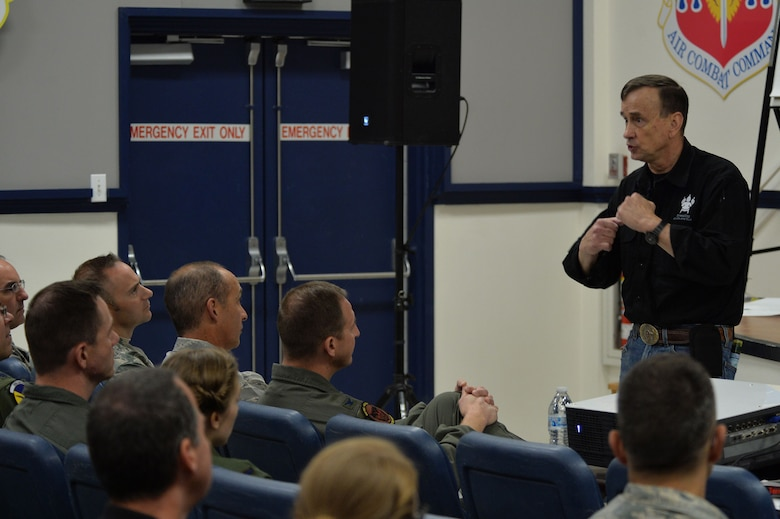 Retired Lt. Col. Dave Grossman elaborates on the effects that post-traumatic stress disorder can have on military members and their families Nov. 13, 2017, at Creech Air Force Base, Nev. Grossman is a public speaker and former professor who shares his psychological research with service members, law enforcement professionals and university students across the U.S. (U.S. Air Force Photo by Airman 1st Class Haley Stevens)
