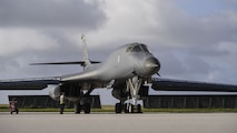 A U.S. Air Force B-1B Lancer, assigned to the 37th Expeditionary Bomb Squadron, deployed from Ellsworth Air Force Base (AFB), South Dakota, arrives at Andersen AFB, Guam, Dec. 4, 2017.