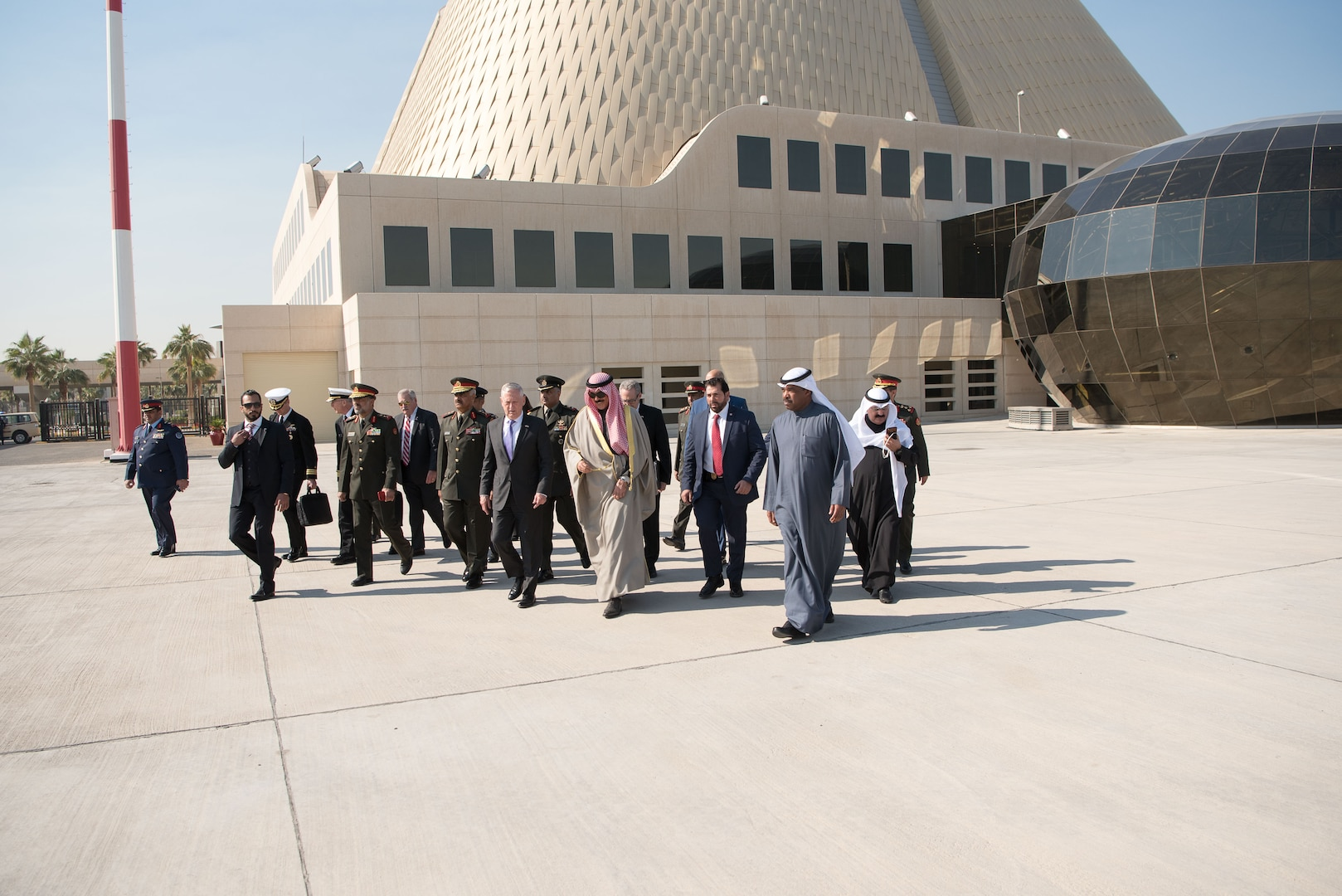 Defense Secretary James N. Mattis walks with Kuwaiti leaders after meeting with the nation's emir.