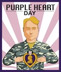 Graphic made for social media in honor of Purple Heart Day, Aug. 7, 2017. It features a U.S. Air Force Airman holding his Airman Battle Uniform top open with a purple heart at the center of his torso.