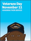 "Graphic made for social media in honor of Veterans Day, Nov. 11, 2017. It features a Korean War veteran saluting with the text ""Veterans Day, November 11, Honoring Their Service."""