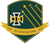 Logo and coin design created for the 1st Fighter Wing's 100th Anniversary. The design features colors and elements from the 1st FW emblem. It also includes four aircraft, a U.S. Air Force F-15 Eagle, F-22 Raptor, P-38 Lightning and Nieuport 28, which represents the legacy of the 1st FW.