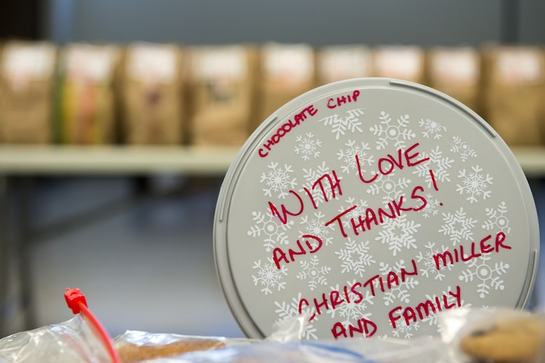 A cookie tub rests on a table during the Annual Moody Airmen Cookie Drive, Dec. 4, 2017, at Moody Air Force Base, Ga. Local organizations, Airmen and spouses donated more than 8,000 cookies to approximately 700 dorm residents to show appreciation for the Airmen during the holidays. (U.S. Air Force photo by Airman 1st Class Erick Requadt)