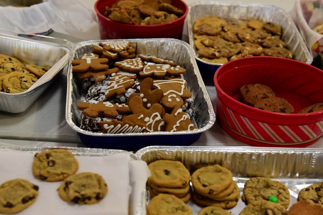 Cookies for the annual Airmen Cookie Drive are set out to be bagged by volunteers Dec. 4, 2017, at Heritage Hall on Seymour Johnson Air Force Base, North Carolina.