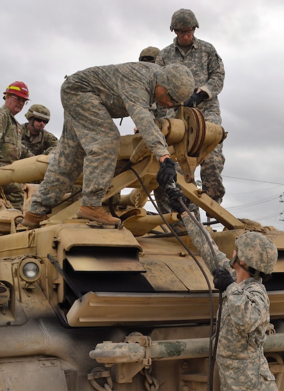 Instructors assigned to the 3rd Brigade, 94th Training Division train Soldiers to  rig and recover wheeled vehicles during a two-week course held at Regional Training Site-Maintenance, Fort Hood, Texas. Once completed, Soldiers will be assigned an additional skill identifier, an identification that highlights additional skills, training, and qualification a soldier has in addition to a military occupation specialty.
