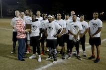 Members of the 20th Logistics Readiness Squadron (LRS) flag football team stand together at the Shaw Air Force Base, S.C., Dec. 1, 2017.