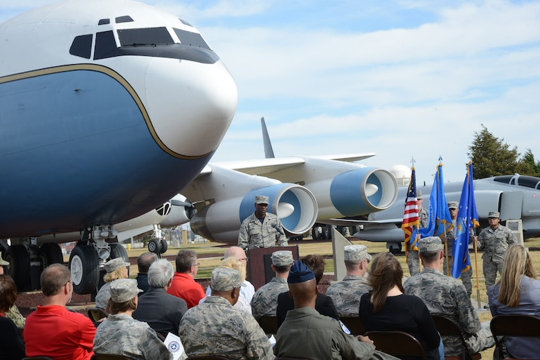 Col. Kenyon Bell, 72nd Air Base Wing commander, gives remarks before participating in the groundbreaking ceremony for the 75th Anniversary time capsule. The time capsule will be buried in the Maj. Charles B. Hall Memorial Air Park at a later date.