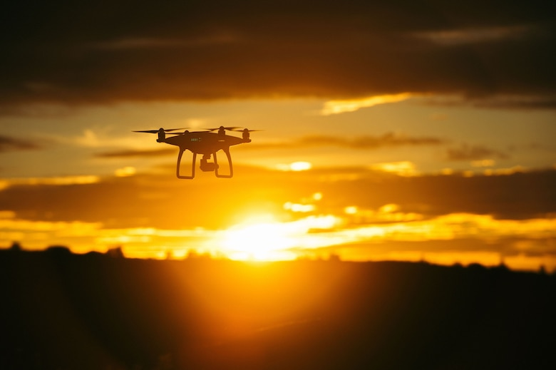A consumer drone flies during sunset. (Courtesy photo)