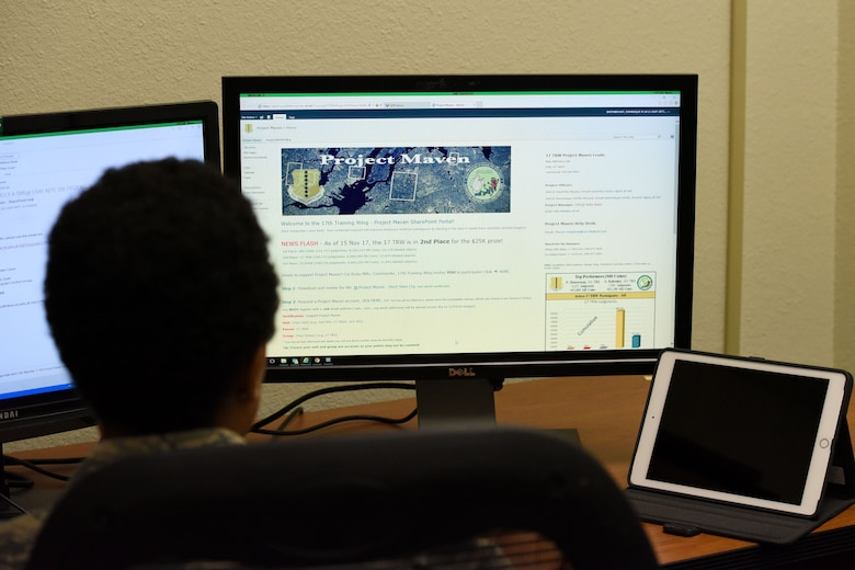 U.S. Air Force 2nd  Lt. Dominque M. Smith-Bryant, a 315th student, logs into the Project Maven website to label objects through the program Nov. 21, 2017. As a student waiting to start class she uses some of her time to help the base team earn rewards in the Project Maven website. (U.S. Air Force photo by Airman 1st Class Seraiah Hines/Released)
