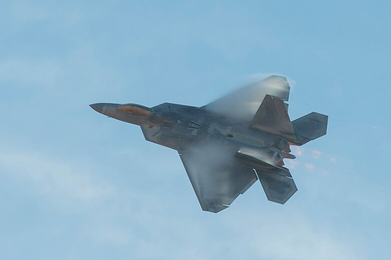 U.S. Air Force Maj. Paul Lopez, F-22 Raptor Demonstration Team pilot, performs an aerial combat capability demonstration at Shaw Air Force Base, S.C., Nov. 30, 2017. Lopez performed the demonstration, which was open to Team Shaw members, as part of the process to become a certified aerial demonstration pilot. (U.S. Air Force photo by Staff Sgt. Zade Vadnais)