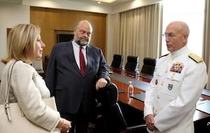U.S. Navy Adm. Kurt Tidd speaks with U.S. Ambassador to Guyana Perry Holloway.