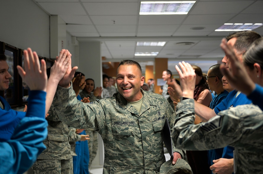 U.S. Air Force Senior Master Sgt. Daniel Stellabotte, 86th Dental Squadron dental operations superintendent, receives congratulations from his colleagues after being selected for promotion to the rank of chief master sergeant. Chief master sergeant corresponds with the pay grade E-9, and is the highest enlisted rank an Airman can attain. (U.S. Air Force photo by Airman 1st Class Joshua Magbanua)