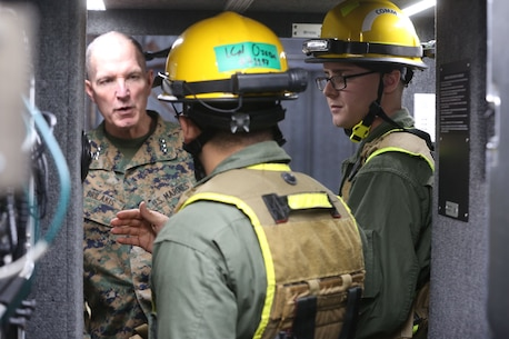 NAVAL SUPPORT FACILITY INDIAN HEAD, Md. – Lt. Gen. Mark A. Brilakis, Commander of U.S. Marine Corps Forces Command, receives a tour of Naval Support Facility Indian Head and Annex Stump Neck during his visit with MARFORCOM subordinate element Chemical Biological Incident Response Force, Nov. 30. During his visit he received briefs from CBIRF command staff, toured facilities used by CBIRF, talked to CBIRF Marines and Sailors, and received a demonstration of the response force's capabilities in case of a crisis. (Official USMC Photos by Staff Sgt. Santiago G. Colon Jr.)