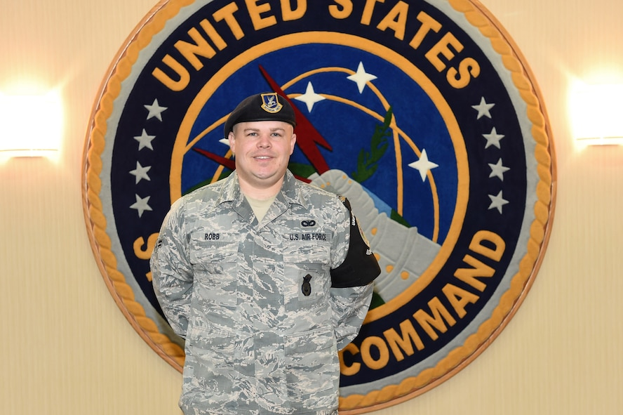 Airman 1st Class David Robb, 55th Security Forces Squadron elite guardsman, was recognized as part of U.S. Strategic Command's H.E.R.O. (Helping Everyone Recognize Others) program Nov. 17, 2017, at Offutt Air Force Base, Neb. Robb was recognized for performing CPR on a civilian that was in cardiac arrest at the base gym.