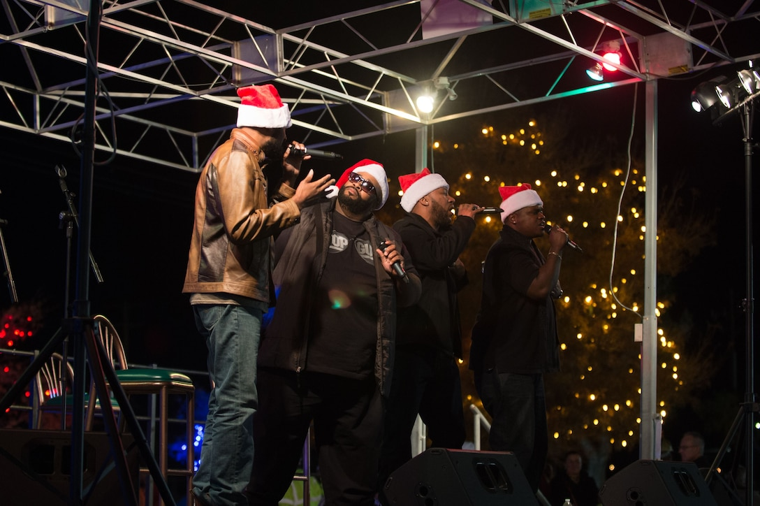 Linkin Bridge, an A Capella pop group that appeared on America's Got Talent, performs for Team Edwards during Winterfest Dec. 1. The group was brought to Edwards by Air Force Services Activity Air Force Entertainment. (U.S. Air Force photo by Jennifer Correa)
