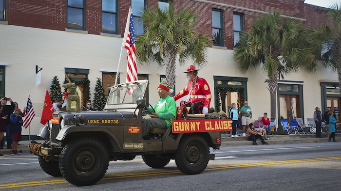 Gunny Clause rides through downtown Beaufort during the annual Christmas parade on Dec. 2. Gunny Clause is a Christmas-time Marine who participates in the annual parade. The parade was held to celebrate the upcoming holiday season.